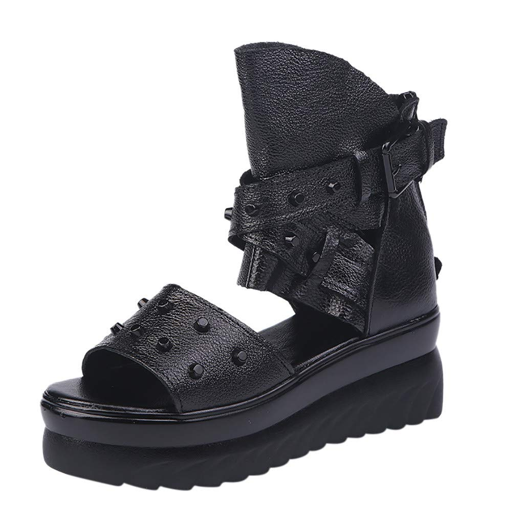 Women Wedge Sandals, ❤️ FAPIZI Fish Mouth Hollow Ankle Buckle Rivet Roma Beach Walking Shoes Casual Summer Sandals Black