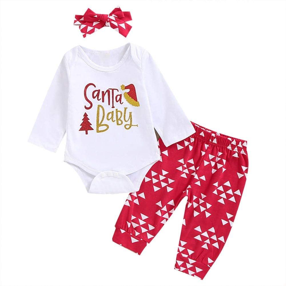 1 Weihnachts-Outfit Set Roten Strampler Baywell Baby Jungen M/ädchen Strampler Set Hut Hose