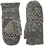 Isotoner Women's Chunky Cable Knit Sherpasoft Mittens, Grey/Multi, One Size
