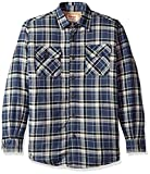 Wrangler Authentics Men's Long Sleeve Sherpa Lined Flannel Shirt Jacket, Mood Indigo, Medium