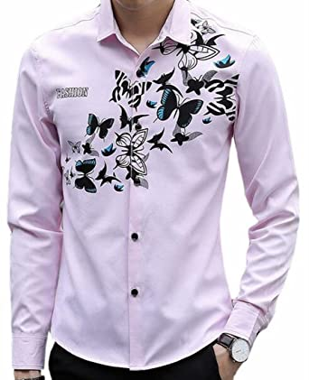 3a22b292368 Cotton Oxford Shirt Mens White by Fmeaddons Source · Zago Mens Casual  Butterfly Pattern Long Sleeve Cotton Button Down