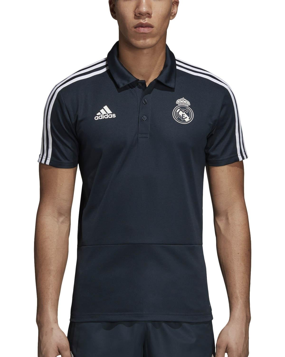 34b5d2f1 adidas 2018-2019 Real Madrid Polo Football Soccer T-Shirt Jersey (Dark Grey
