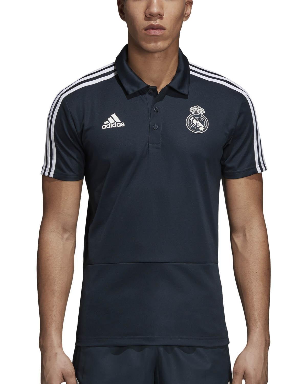 adidas 2018-2019 Real Madrid Polo Football Soccer T-Shirt Jersey (Dark Grey)