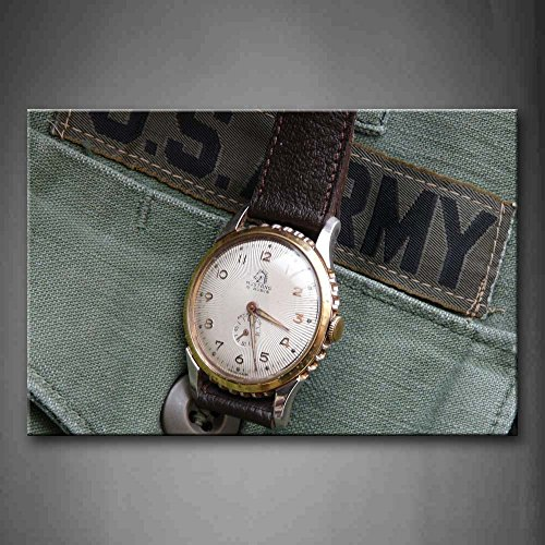 First Wall Art - Watch With Leather Belt On The Cloth Wall A