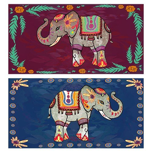 (World Buyers Decorative Matches, set of 2 matchboxes, Festival Elephants)