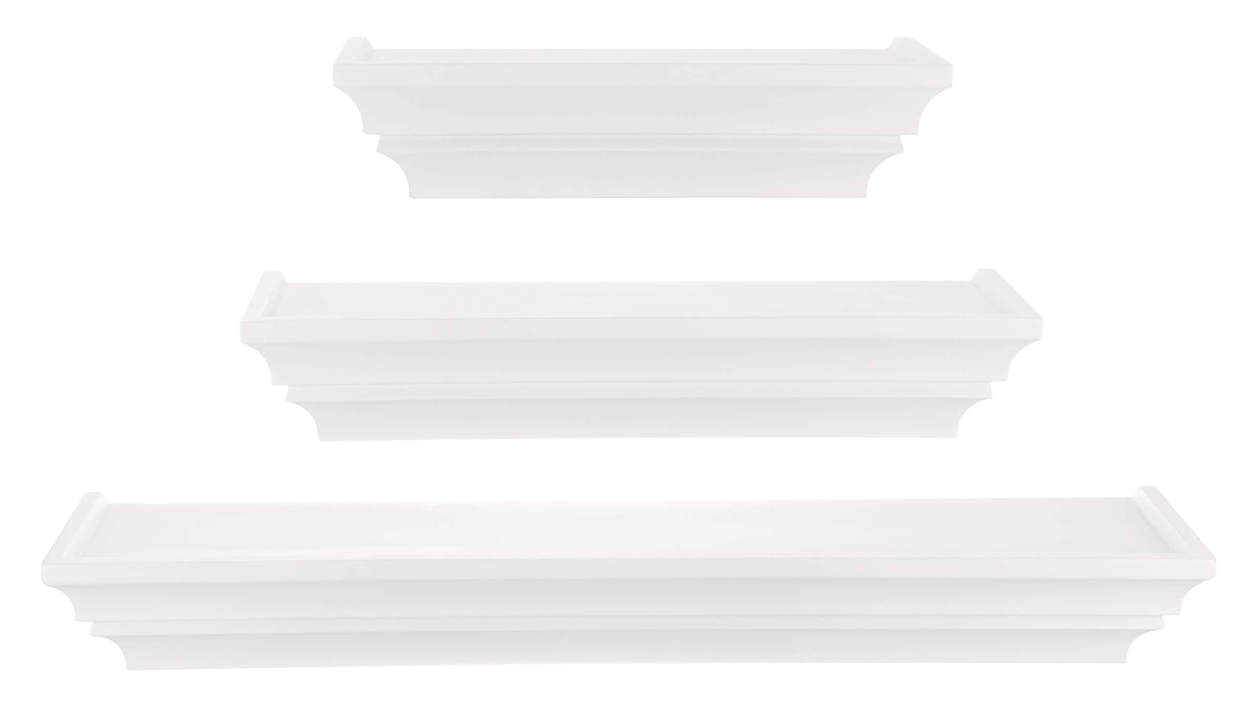 nexxt madison contoured wall ledges 12 inch 16 inch 24 inch white set of 3
