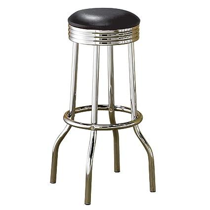 Excellent Cleveland Bar Stools Black And Chrome Set Of 2 Machost Co Dining Chair Design Ideas Machostcouk
