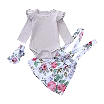 ZHRUI Toddler Kids Baby Girls Ropa, 3PC elegante sólido de manga larga Ruffle Romper Tops