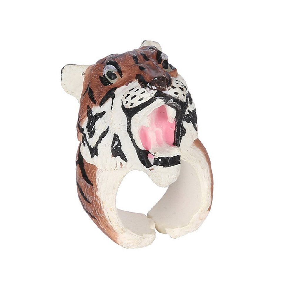 Winter's Secret Tiger Pattern Lovely Three-dimensional Small Animal Ring Middle Thumb Finger Jewelry