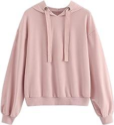 9f728fb57d SheIn Women's Casual Long Sleeve Drop Shoulder Drawstring Hoodie  Sweatshirts Top