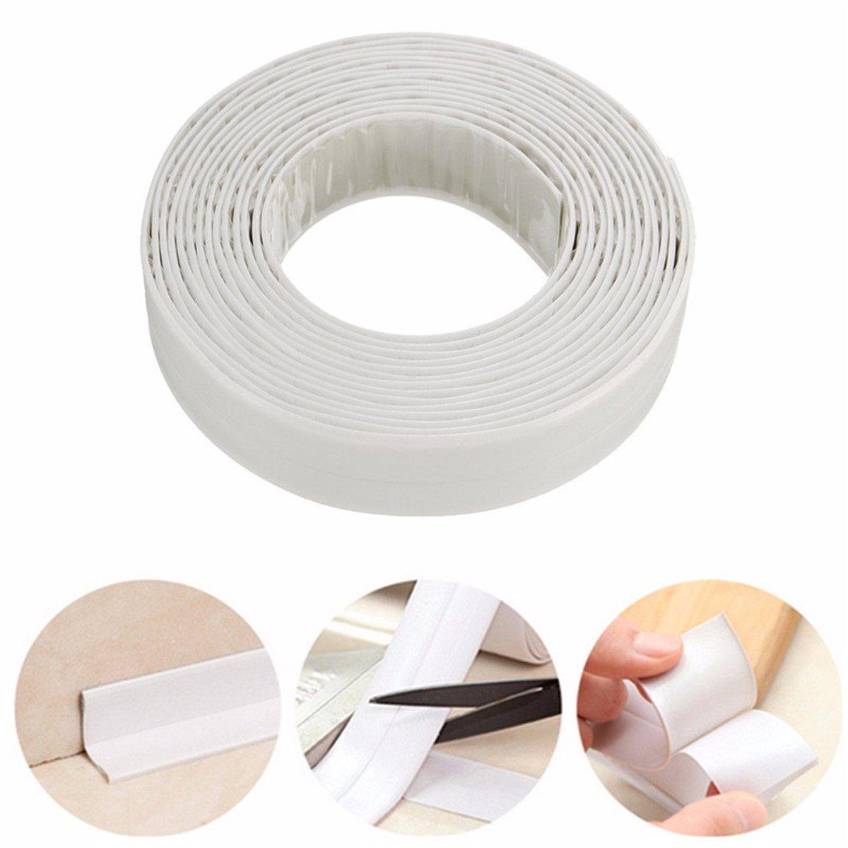 LKXHarleya PVC 22 x 3.35mm White Bathroom Bath And Wall Sealing Strip Kitchen Gap Seal Waterproof Tape