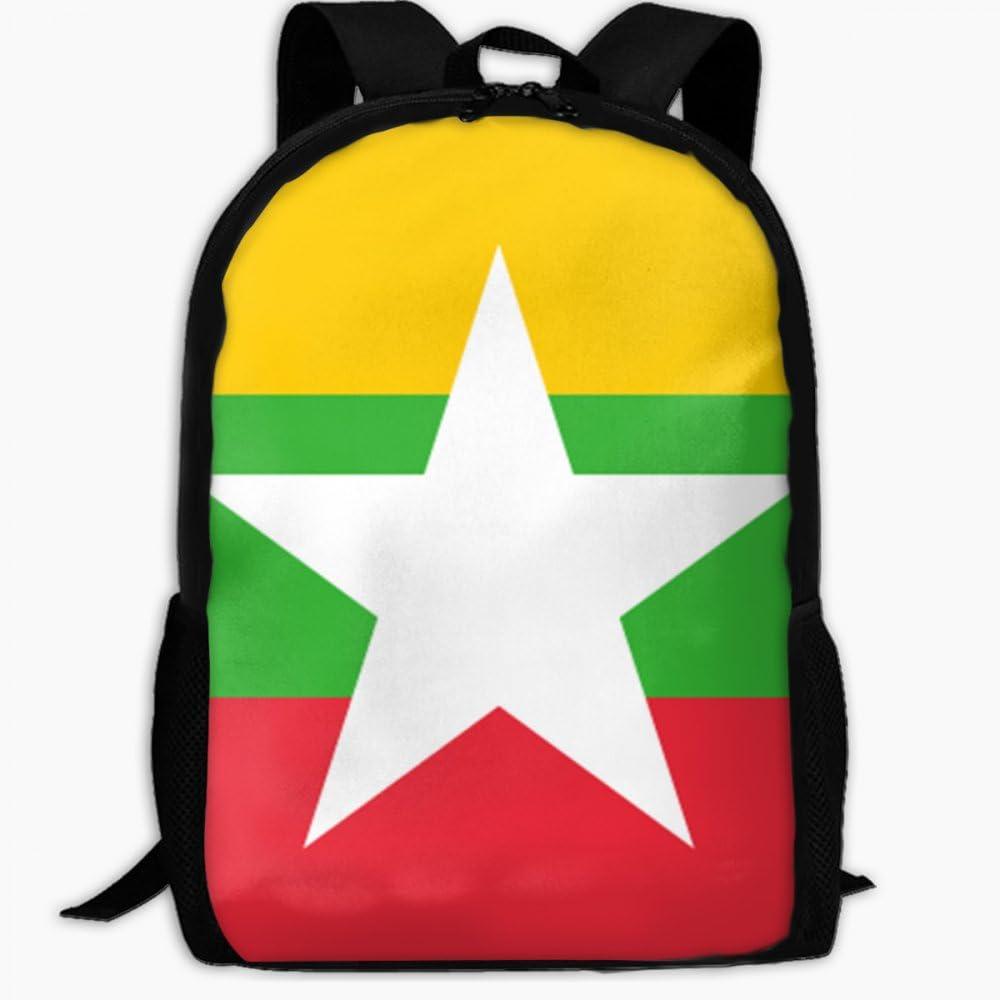 Childrens School Backpack Flag of Myanmar Outdoor Travel Backpack Students Backpacks Girls Book Bags Unisex Shoulder Daypack