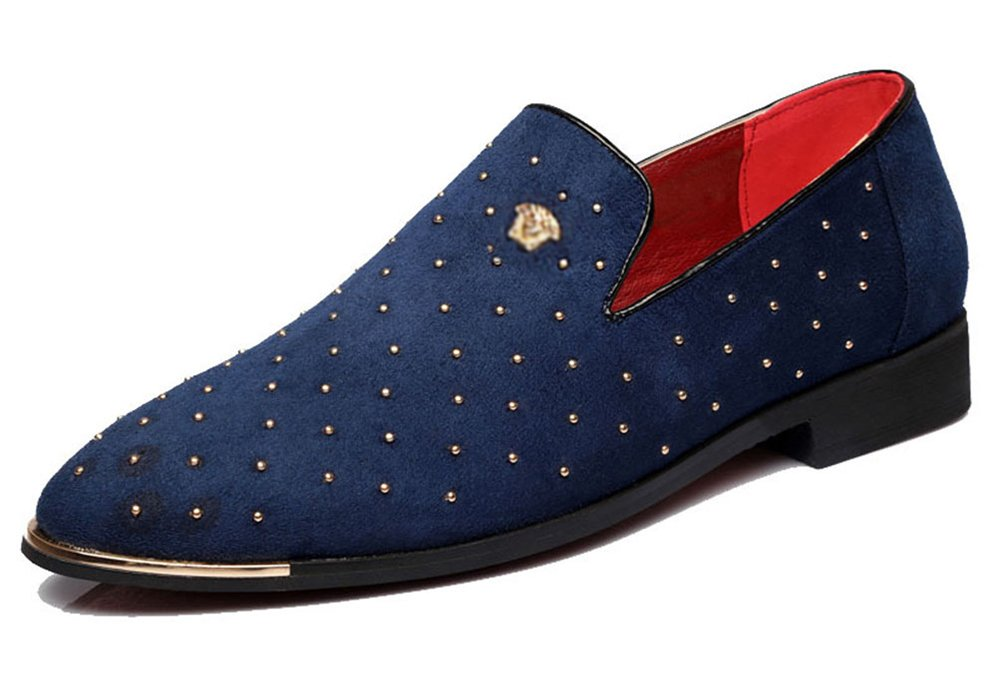 CMM Men's Slip On Casual Loafers Nightclub Shoes Textured Glitter Sequins Loafers Wedding Shoes 12.5in Navy
