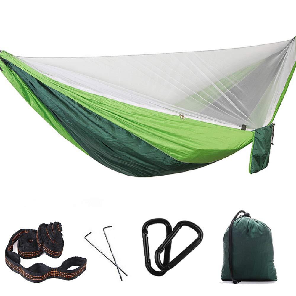 vert 2mdoublebague2 YLOVOW Hamac Simple de Camping, Courroies de Filet et d'arbre, hamac léger en Nylon de Parachute pour la randonnée en Plein air