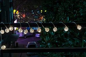 JUNELILY LED Lantern Hanging String Light - Battery-Powered (30 LED, 9FT) (Metal Wire Spheres)