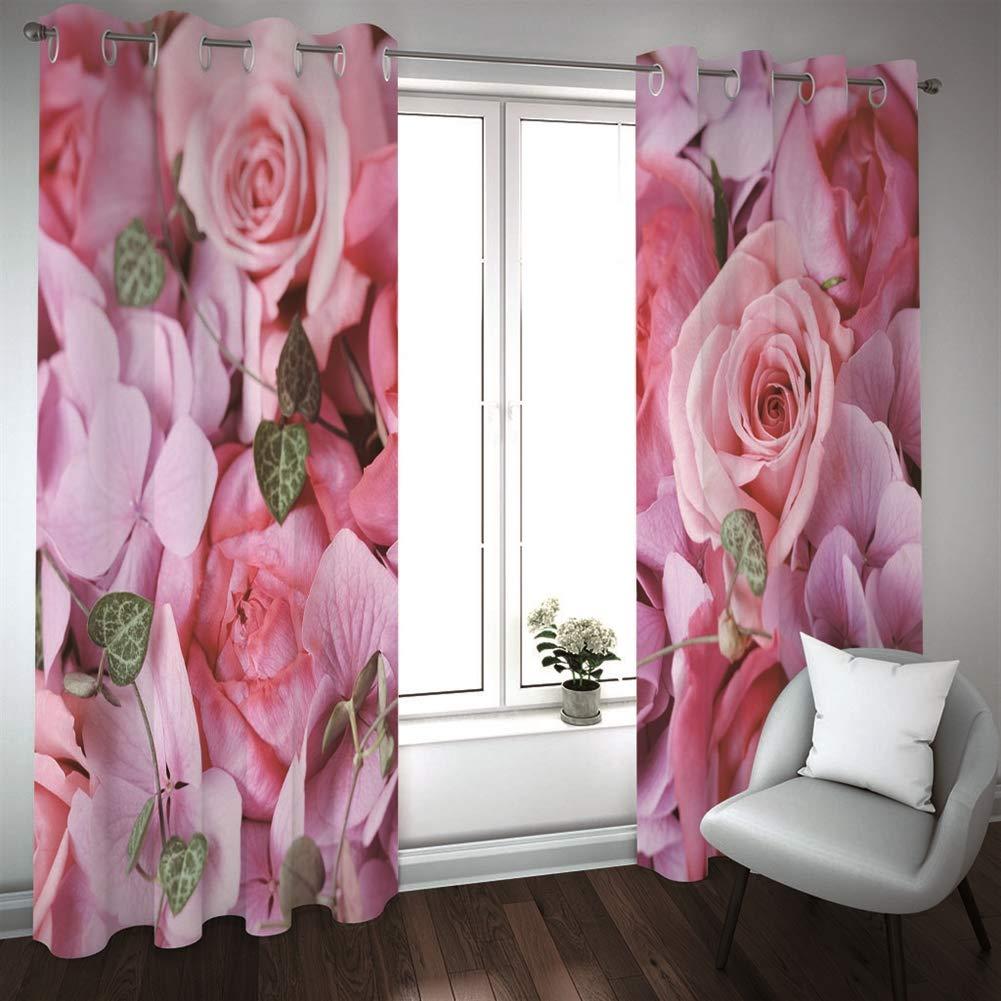 2 Paneles Cortina Opacas SK Studio Poli/éster Cortinas Impresi/ón de Foto en 3D para Sal/ón Dormitorio Ventana de Habitaci/ón Flor Multi 1 140x210cm