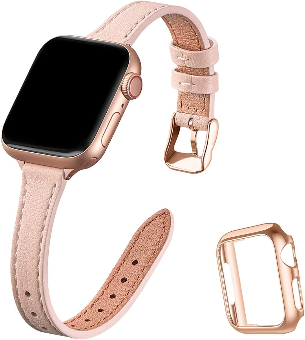 STIROLL Slim Leather Bands Compatible with Apple Watch Band 38mm 40mm 42mm 44mm, Top Grain Leather Watch Thin Wristband for iWatch SE Series 6/5/4/3/2/1 (Pale pink with Rose Gold, 42mm/44mm)