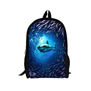 3D Animal Backpack Children's Lightweight School Book Bags Printing (Marine4)