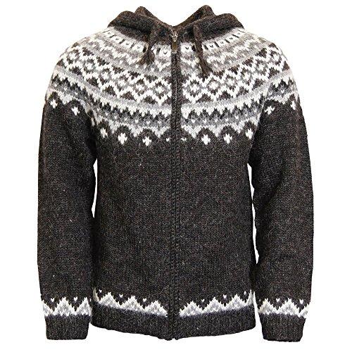 ICEWEAR Skjoldur Men's Sweater Hand Knitted Design - 100% Icelandic Wool Jumper with Zip and Hood Design   Black - Medium