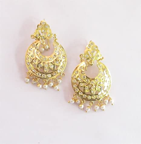dfc146457e2 Amazon.com  Punjabi Look Jadau Gold Navratan Earrings with Pearl Drops   Indian India Earrings Jewelry  Punjabi Mughal Muslim Begum Earrings   Everything Else