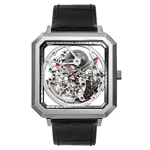 Ciga diseño hueca de acero inoxidable automático reloj mecánico negro cinturón cuadro impermeable cuadrado reloj: Amazon.es: Relojes