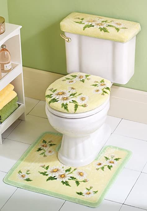 Amazon.com: Collections Etc Daisy Bathroom Yellow Floral Commode Set ...