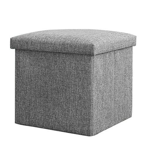 Vencer Classics Foldable Storage Cube/Ottoman,Grey 15''X15''X15''