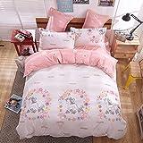 4pcs Magic Bedding Sheet Set Duvet Cover Pillow Cases Twin Full Queen Size (Twin, Unicorn)