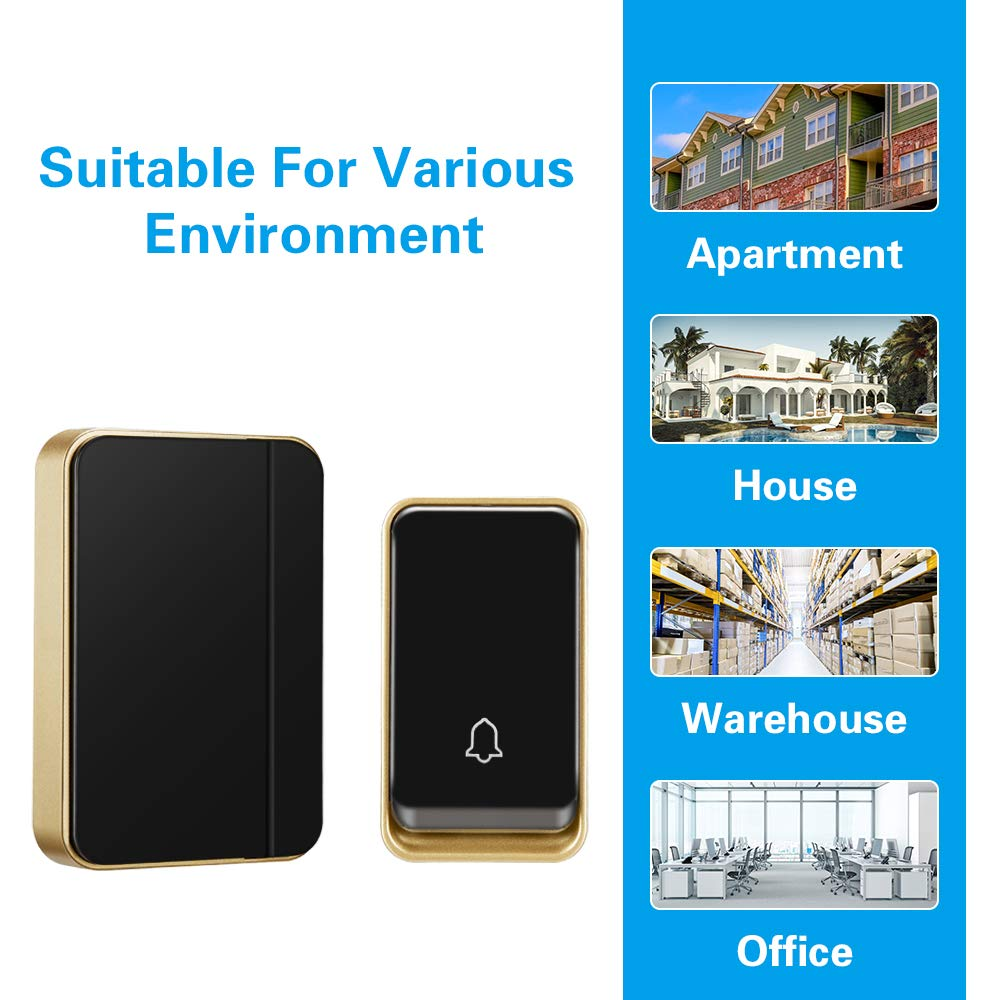 『No Battery Required』Wireless Doorbell Waterproof No Battery Required Black 51 Chimes AURTEC Door Chime Kit with 1 Plug-in Receivers /& 1 Press Self-Powered Transmitter 4 Volume Levels