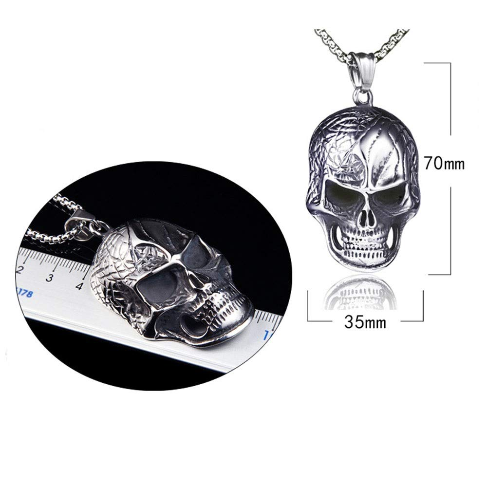 HANXIAODONG Mens 316L Stainless Biker Skull Pendant Gothic Stainless Steel Pendant Necklace Silver Black 60cm Color : Silver Black, Size : Chain