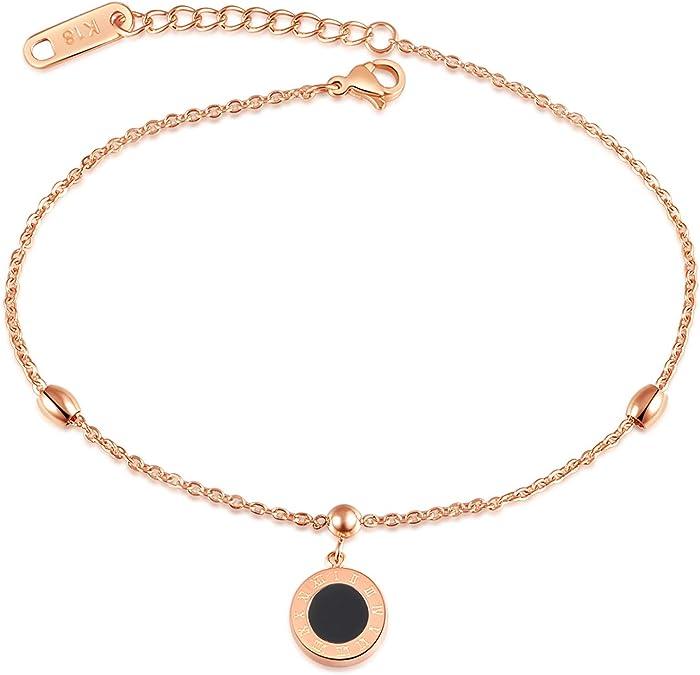 Anyeda Beach Cheville Bracelets de Cheville Cha/îne pour Femmes Filles Chiffre Romain Rond Acier Inoxydable Or Rose Cha/îne de Cheville Hippie 20.5+4CM