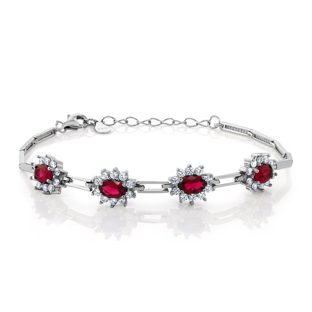 Sterling Silver Red Created Ruby Women's Tennis Bracelet (2.36 cttw, 7 Inch With 1 Inch Extender)