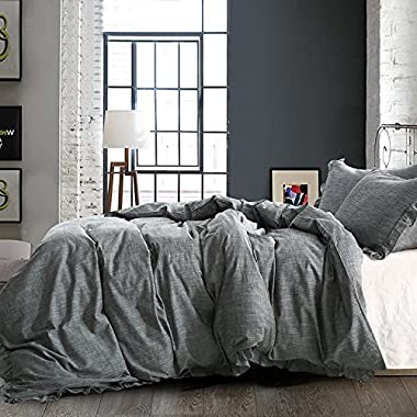 NTBAY Linen 3 Pieces Duvet Cover Set Solid Color with Exquisite Ruffles Design, Breathable, Queen Size, Grey