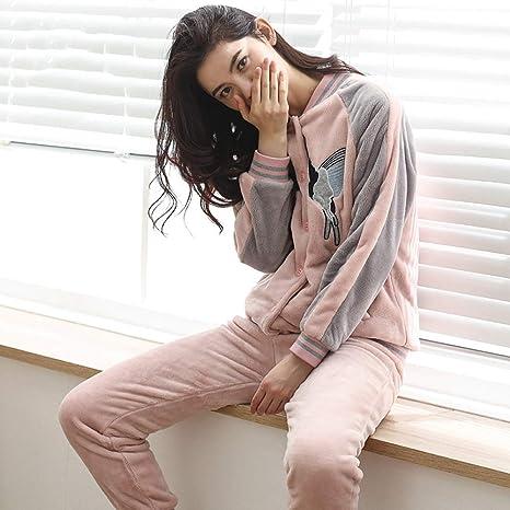WANG-LONG Ropa De Dormir Batas Mujer Camisón Conjunto De Pijamas Mujer Camisones Invierno Franela