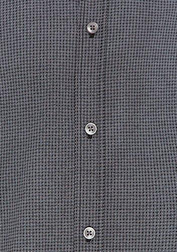 Balcorne Impression Chemise De Polyester Mélange À Manches Longues Coupe Régulière Des Hommes Tarocash Tailles Xs-5xl Pour Sortir Intelligent Noir Occasions Particulières