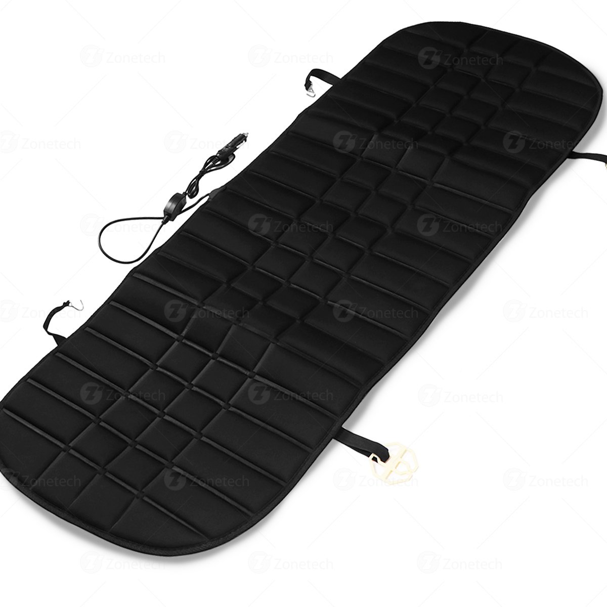 Black Premium Quality 12V Heating Warmer Rear Pad Hot Cover Perfect for Cold Weather and Winter Driving Comfort Wheels SE0054 Zone Tech Heated Rear Seat Cushion