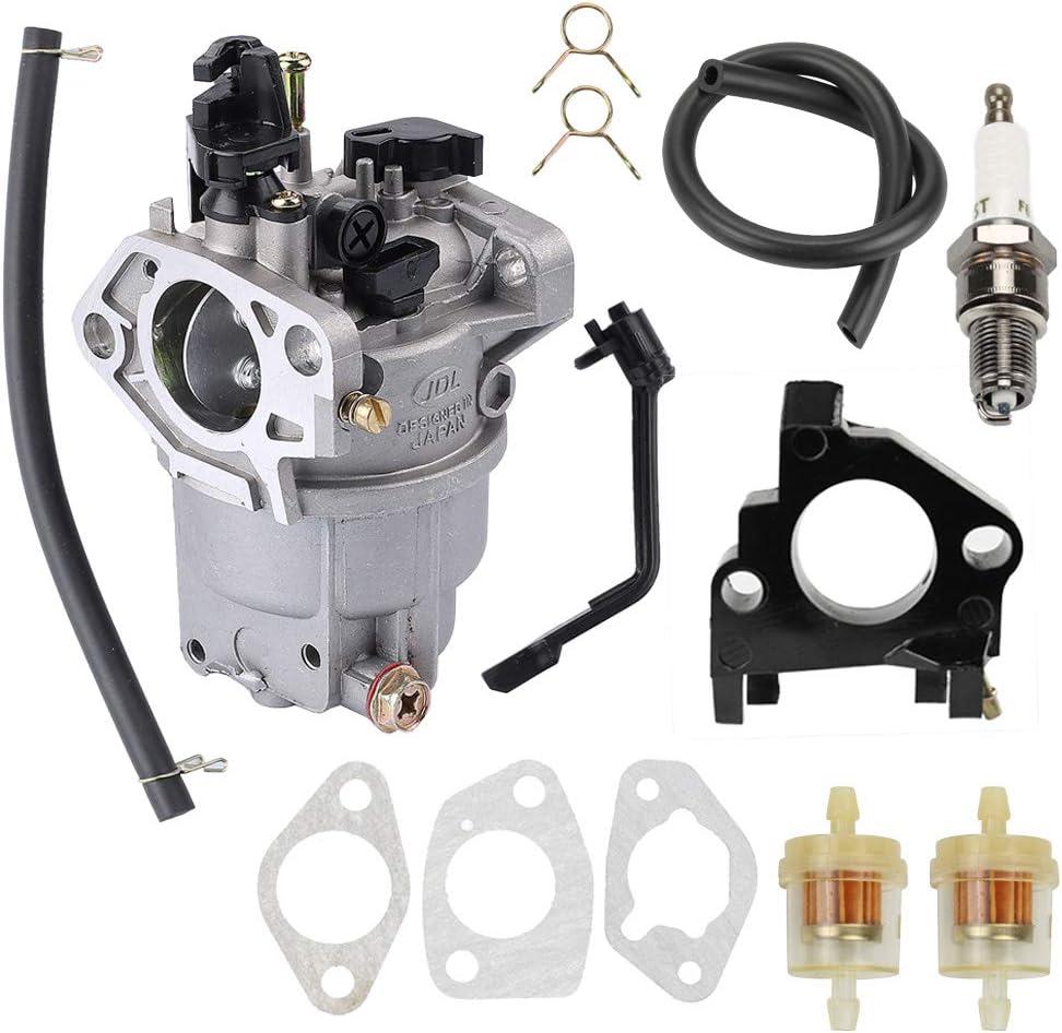 0J58620157 Carburetor for Generac GP5500 GP6500 GP6500E GP7500E 389cc 8125W Jingke Huayi Kinzo Ruixing 13HP 14HP 15HP 16HP 188F 190F Portable Generator with Spark Plug Fuel Filter Insulator