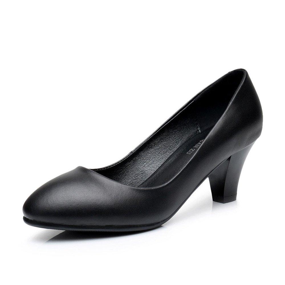 Frauen Pumps Schwarz Closed Toe Leder Flach S Arbeit Büro Schuhe Low Heel Lady Abend Hochzeit Gericht Schuhe
