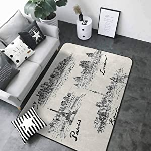 """Front Mat Home Decorative Carpet Colorful Travel,Silhouettes of Different Popular Cities in World Paris Sidney Berlin London Print, Cream Black 48""""x 72"""" Rugs for Outside"""