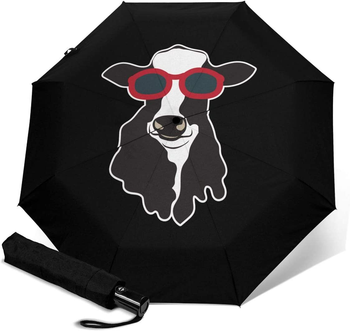Cow Wearing Glasses Automatic Open Folding Compact Travel Umbrellas For Women