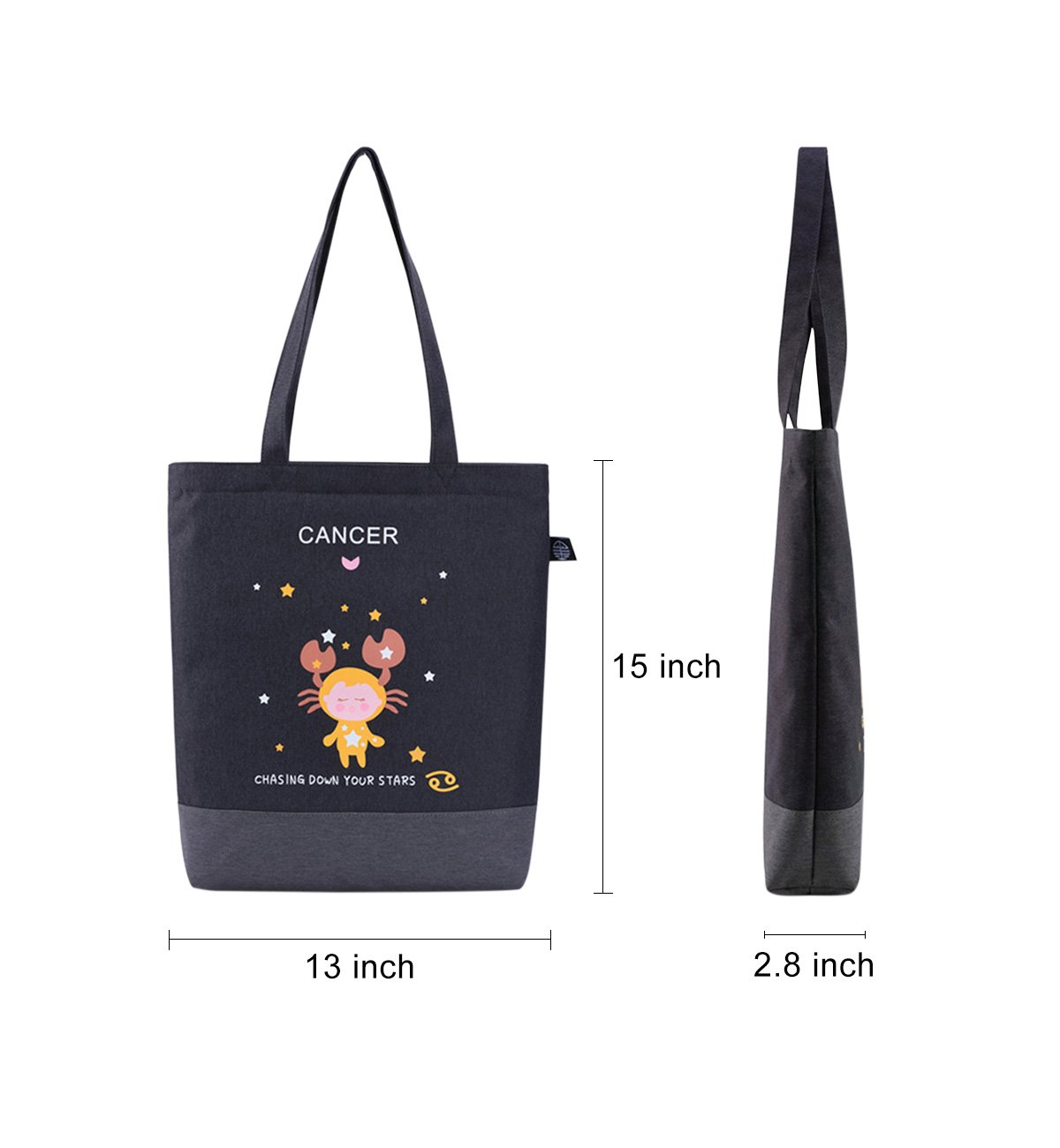 6a2b6b2e84 Amazon.com  Tom Clovers Womens Girls Canvas Constellation Collection Shoulder  Bag Hand Bag Tote Bag Weekender Casual Shopping With Zippers Aquarius black   ...