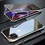 iPhone11Pro ケース 対応 OURJOY スマホケース iPhone 11 Pro アルミバンパー ケース 5.8インチ 両面ガラス 防爆裂 360°全面保護 マグネット式 磁気吸着 耐衝撃 擦り傷防止 9H強化ガラス保護フィルム ガラスケース (iPhone11 Pro シルバー)
