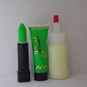 Glowing Alien Theatrical Make Up Set w/ Cream Stick, GID Body Paint, &