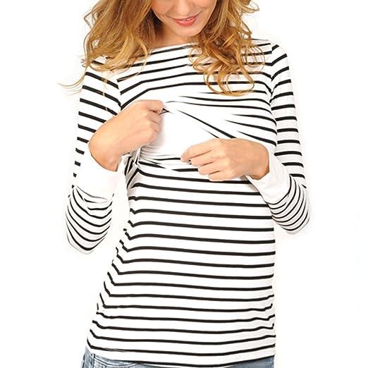 c800cb3fdb0c1 Vin beauty Maternity Breastfeeding Striped Pullover Sweatshirt Pajamas For  Pregnant Nursing Mother T Shirt