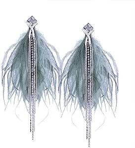 Magnetin Women Earrings Korean Personality Super Immortal Fashion Tassel Diamond Earrings Feather Temperament Long Sexy Sweet Ear Pendant, Green