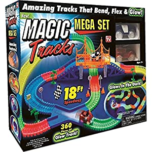 Magic Tracks 18 ft. Mega Set With LED Race cars MEGA-Cool Colorful Glow In The Dark Racing!