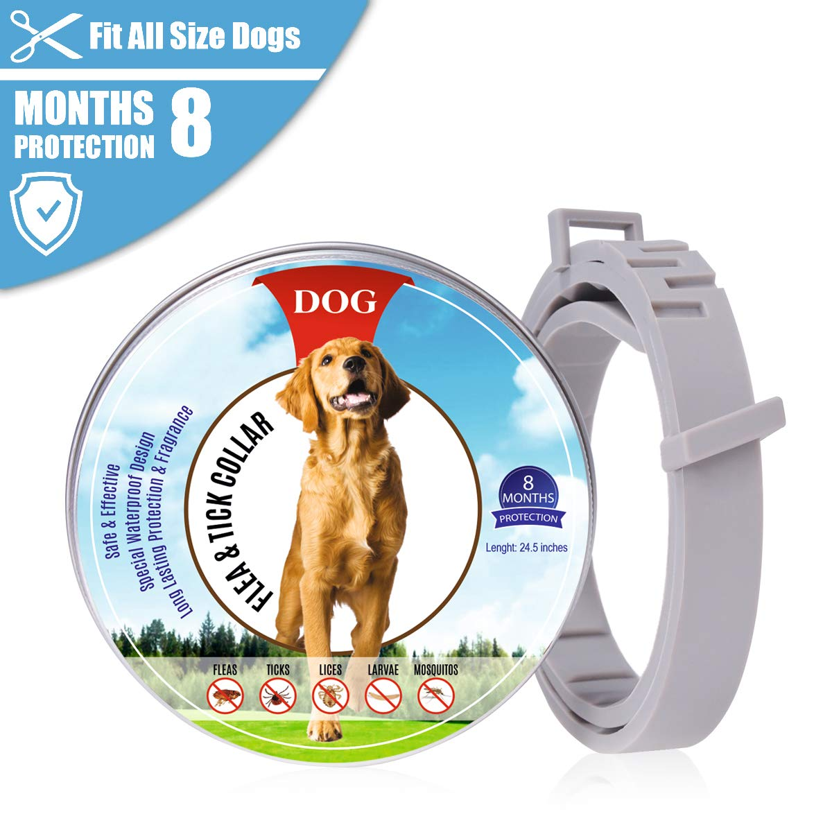 24.5 Inches Flea and Tick Collars for Dogs fits for Small Medium Large Pets Medium Natural,Safe and Waterproof Anti Flea Collar with 8 Months Effectiveness Protection,Adjustable Length 62cm