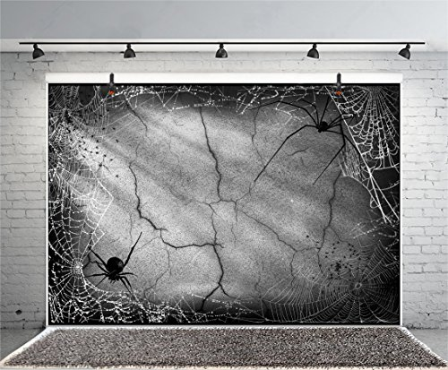 Leyiyi 6x4ft Photography Background Happy Halloween Party Backdrop Vintage Grunge Graffiti Concrete Wall Spider Nets Sunlight Huge Spiders Horro Costume Carnival Photo Portrait Vinyl Studio Prop -