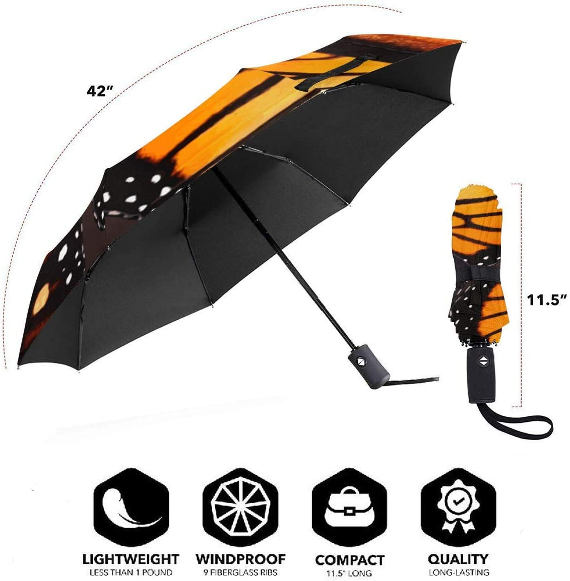 Orange Monarch Butterfly Wings Automatic Tri-Fold Umbrella Parasol Sun Umbrella Sunshade