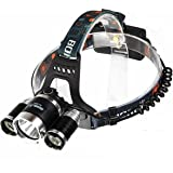 Boruit RJ-3000 LED Headlamp Headlight Rechargeable Green Flaslight Head Lamp with Usb Charger and Batteries for Hiking Camping Hunting